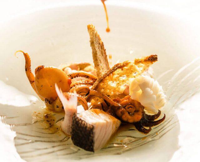 Una delle pietanze del menù Pesce Briaco