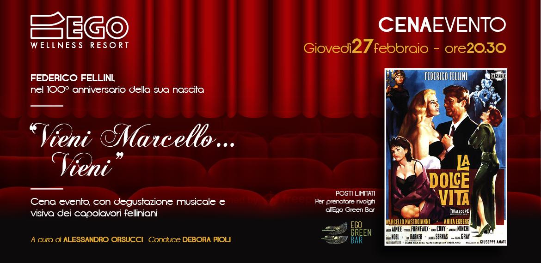 la cena evento di Ego dove si degusta musica e visioni dal grande cinema di Federico Fellini, oltre che una cena tipica romagnola in suo onore